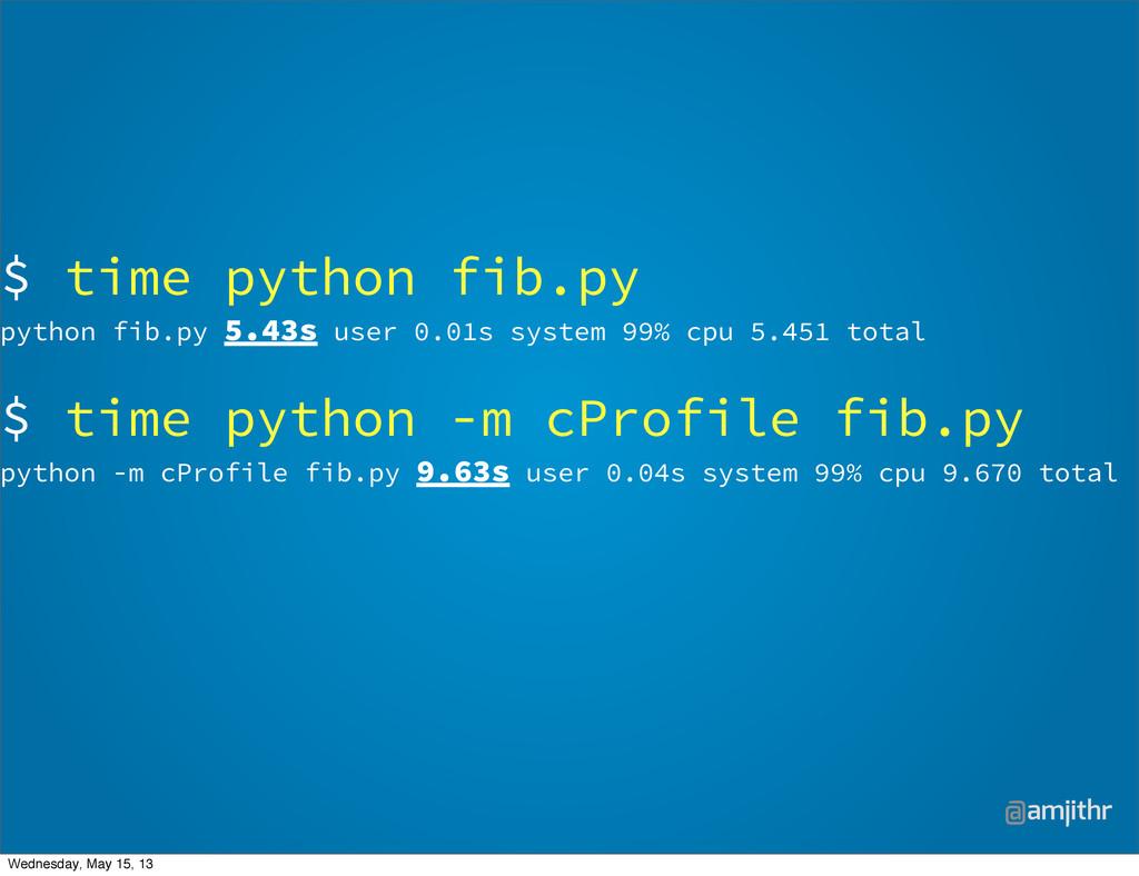@amjithr $ time python fib.py python fib.py 5.4...