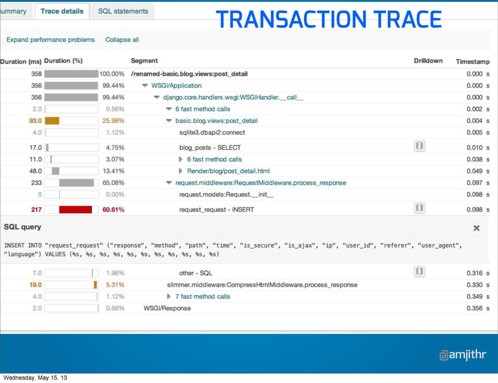 @amjithr TRANSACTION TRACE Wednesday, May 15, 13
