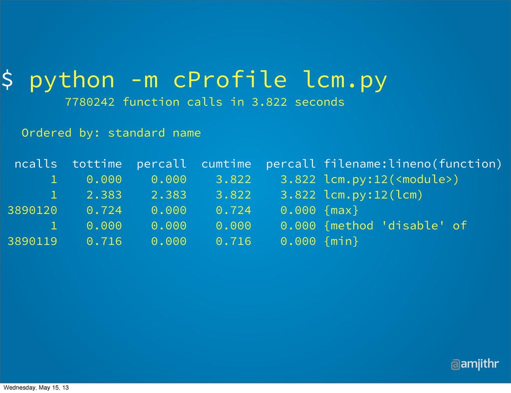 @amjithr $ python -m cProfile lcm.py 7780242 fu...