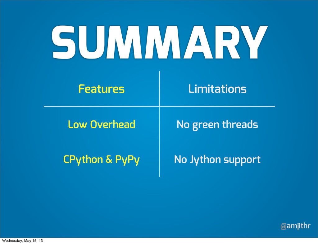 @amjithr SUMMARY Features Limitations Low Overh...