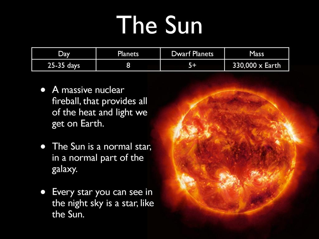 The Sun • A massive nuclear fireball, that provi...
