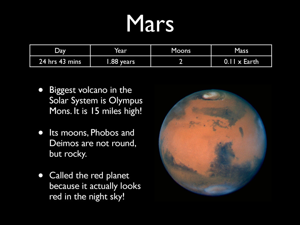 Mars • Biggest volcano in the Solar System is O...