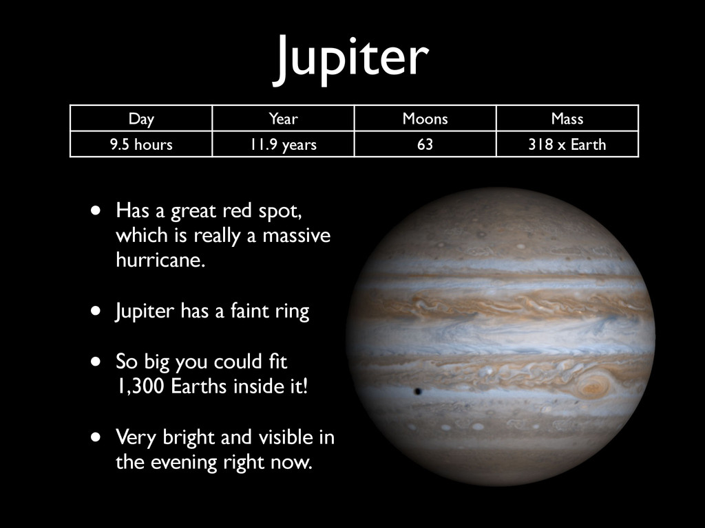 Jupiter • Has a great red spot, which is really...