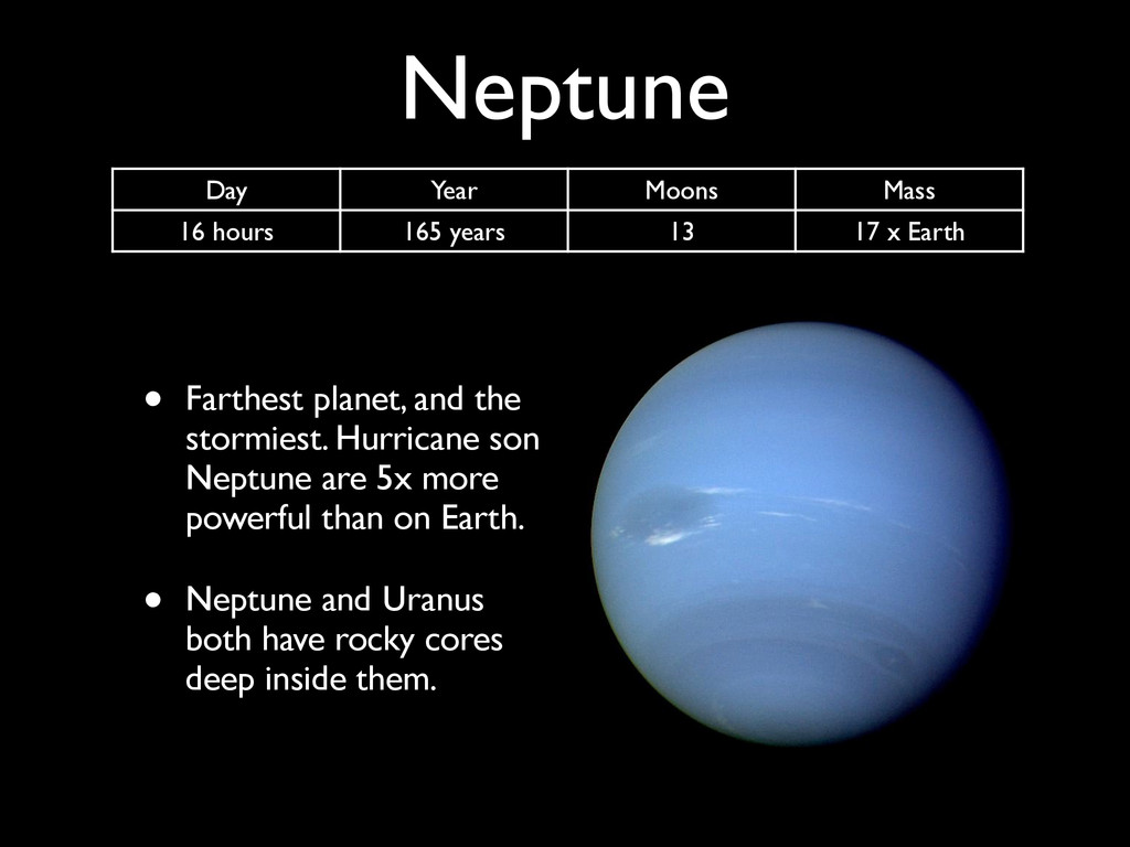 Neptune • Farthest planet, and the stormiest. H...