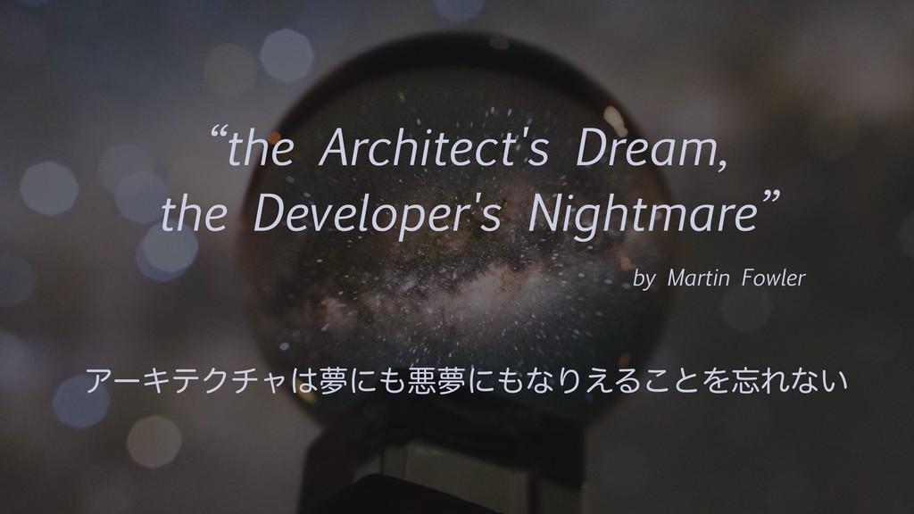 """""""the Architect's Dream, the Developer's Nightma..."""