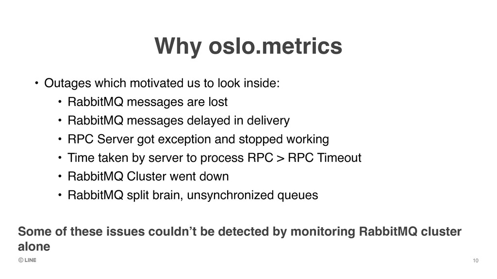 Why oslo.metrics • Outages which motivated us t...