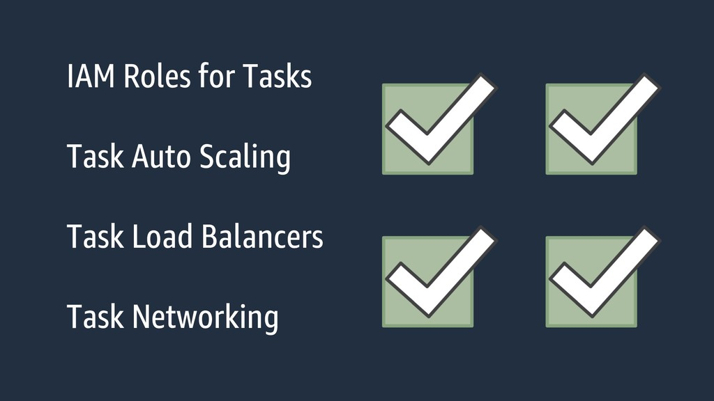 IAM Roles for Tasks Task Auto Scaling Task Load...