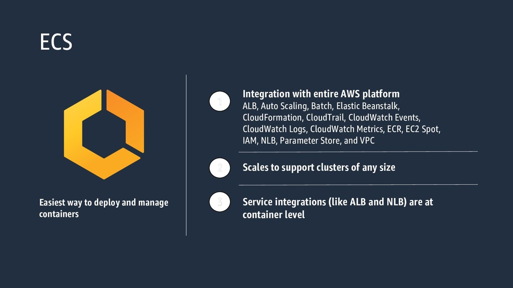 ECS Easiest way to deploy and manage containers...