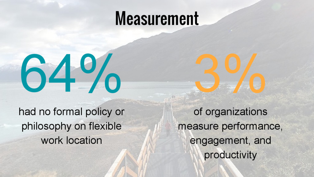 Measurement 64% had no formal policy or philoso...
