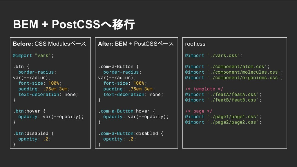 BEM + PostCSSへ移行 Before: CSS Modulesベース @import...