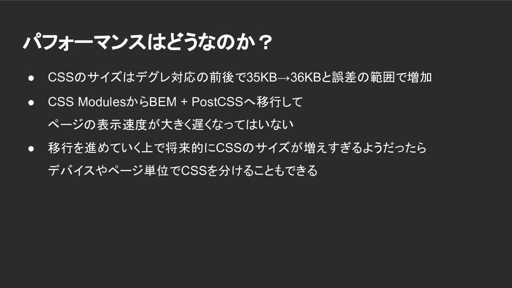 パフォーマンスはどうなのか? ● CSSのサイズはデグレ対応の前後で35KB→36KBと誤差の...