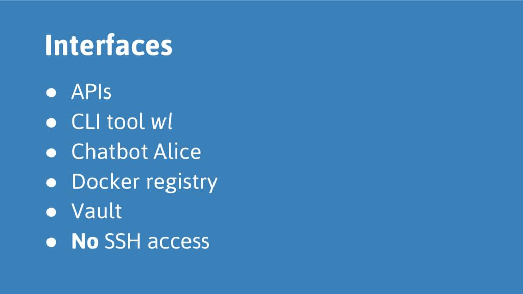 ● APIs ● CLI tool wl ● Chatbot Alice ● Docker r...