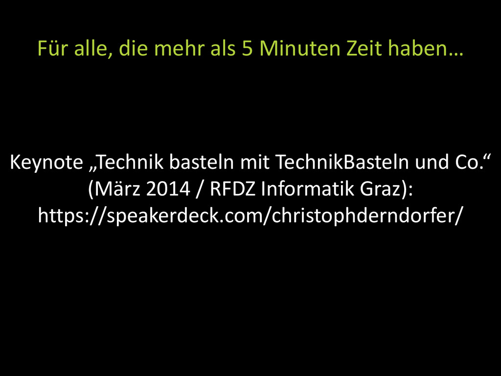 "Keynote ""Technik basteln mit TechnikBasteln und..."