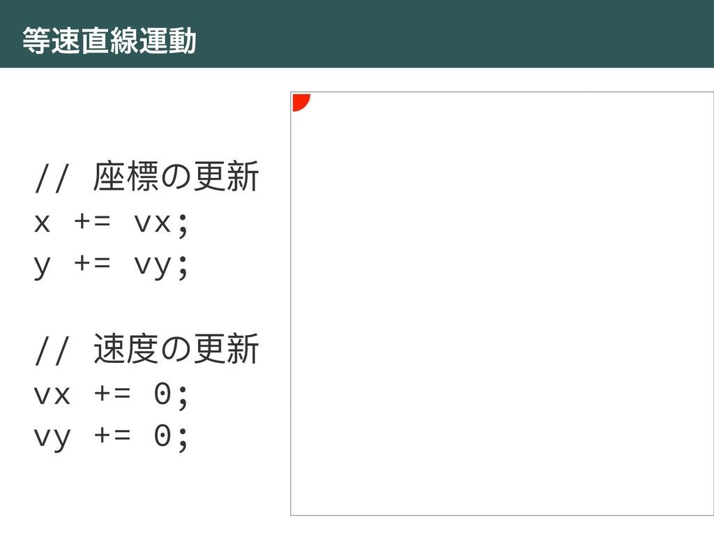 ઢӡಈ // ଷ䰤΄ๅෛ x += vx; y += vy; // ᭛ଶ΄ๅෛ vx +...