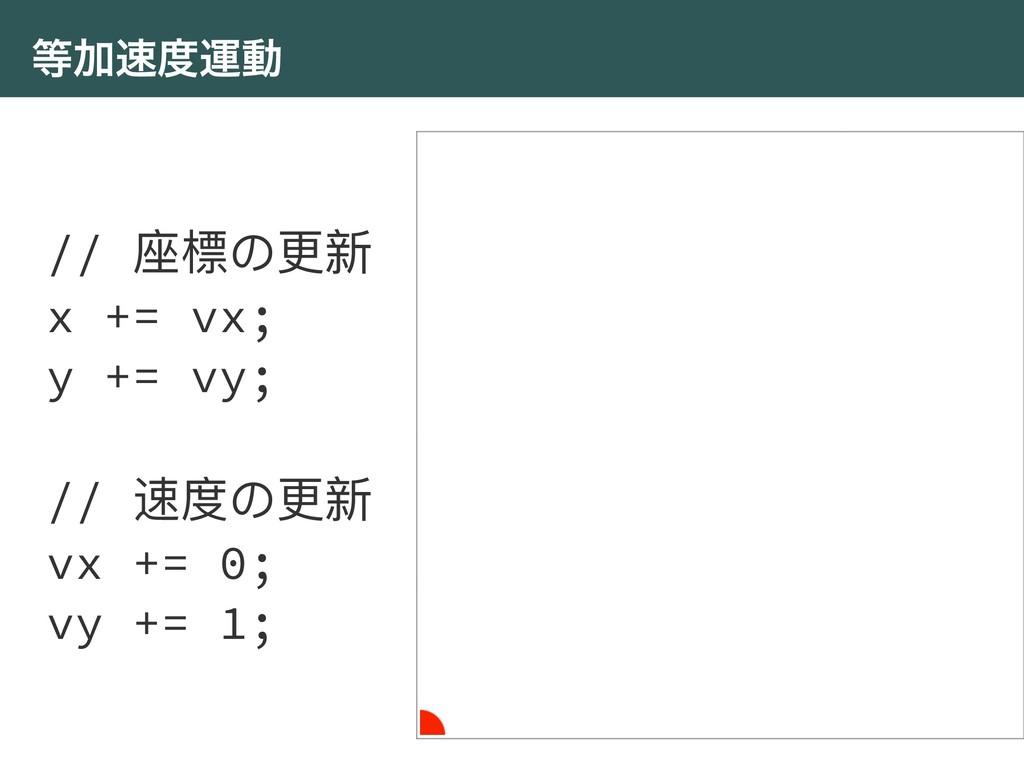 Ճӡಈ // ଷ䰤΄ๅෛ x += vx; y += vy; // ᭛ଶ΄ๅෛ vx +...