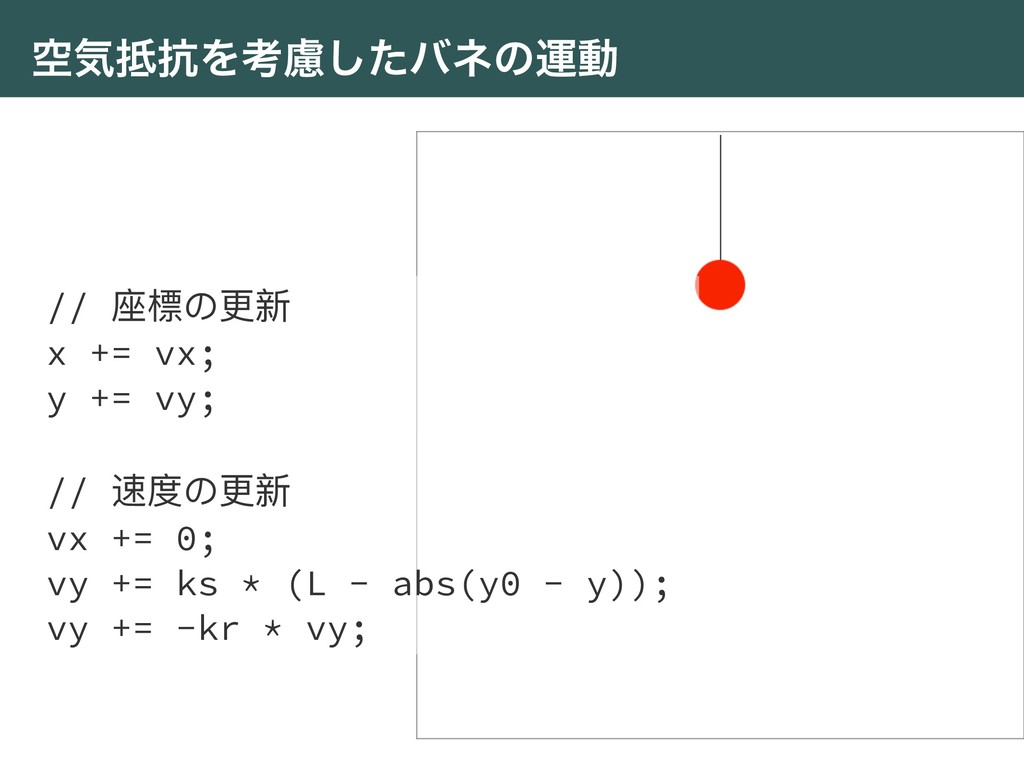 ۭؾ߅Λߟྀͨ͠όωͷӡಈ // ଷ䰤΄ๅෛ x += vx; y += vy; // ᭛ଶ...