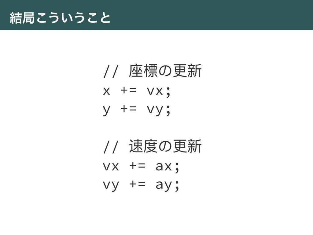 ݁ہ͜͏͍͏͜ͱ // ଷ䰤΄ๅෛ x += vx; y += vy; // ᭛ଶ΄ๅෛ vx...