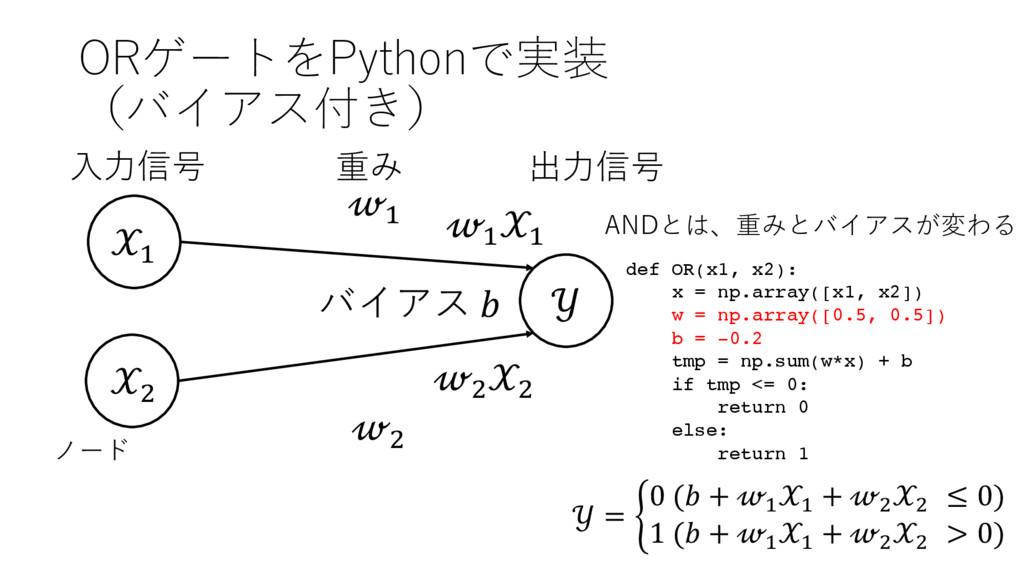 ORゲートをPythonで実装 (バイアス付き) ' (  ' ( 出⼒信号 ⼊⼒信号 重み ...