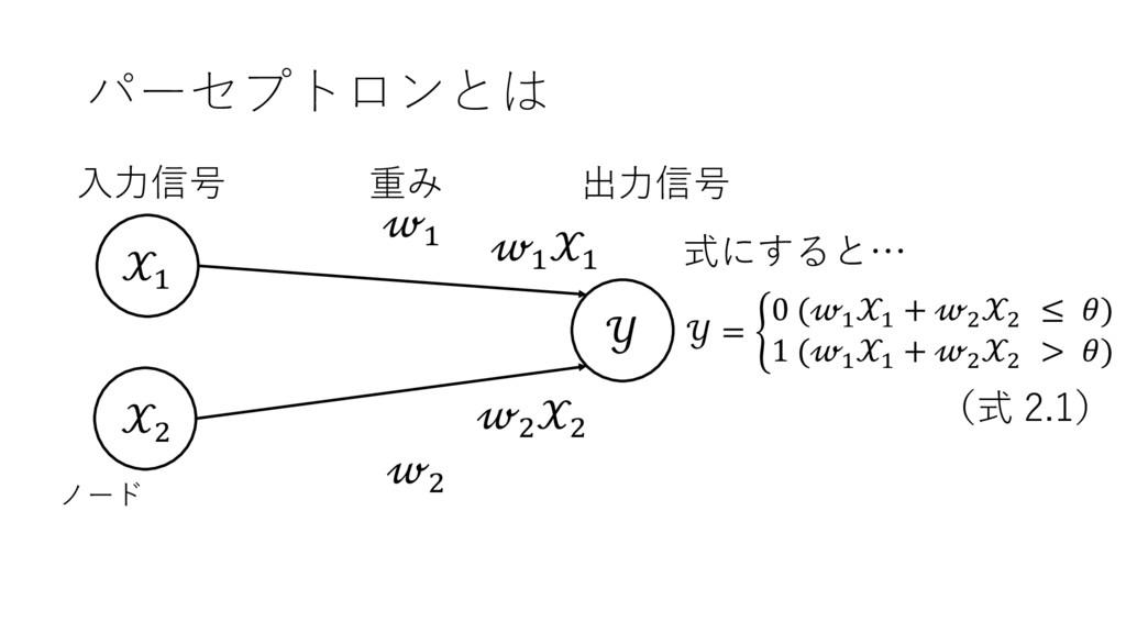 ' (  ' ( パーセプトロンとは 出⼒信号 ⼊⼒信号 重み ノード ' ' ( (  = ...