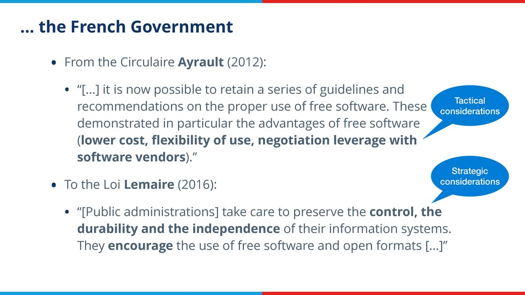 … the French Government • From the Circulaire A...