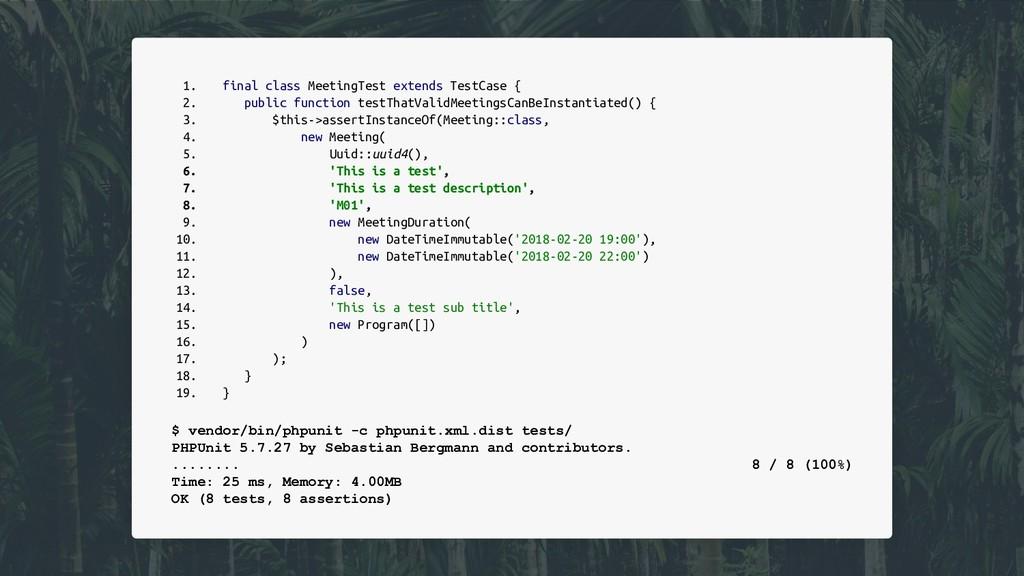 1. final class MeetingTest extends TestCase { 2...