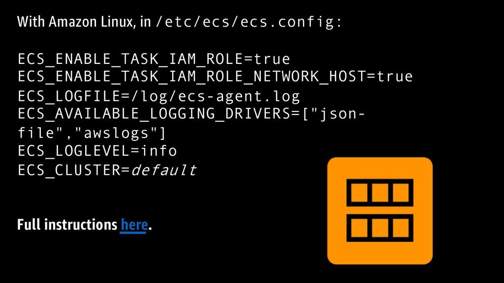 With Amazon Linux, in /etc/ecs/ecs.config: ECS_...