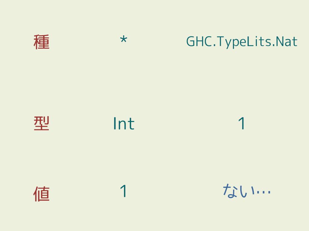 種 型 値 1 Int * 1 GHC.TypeLits.Nat ない…