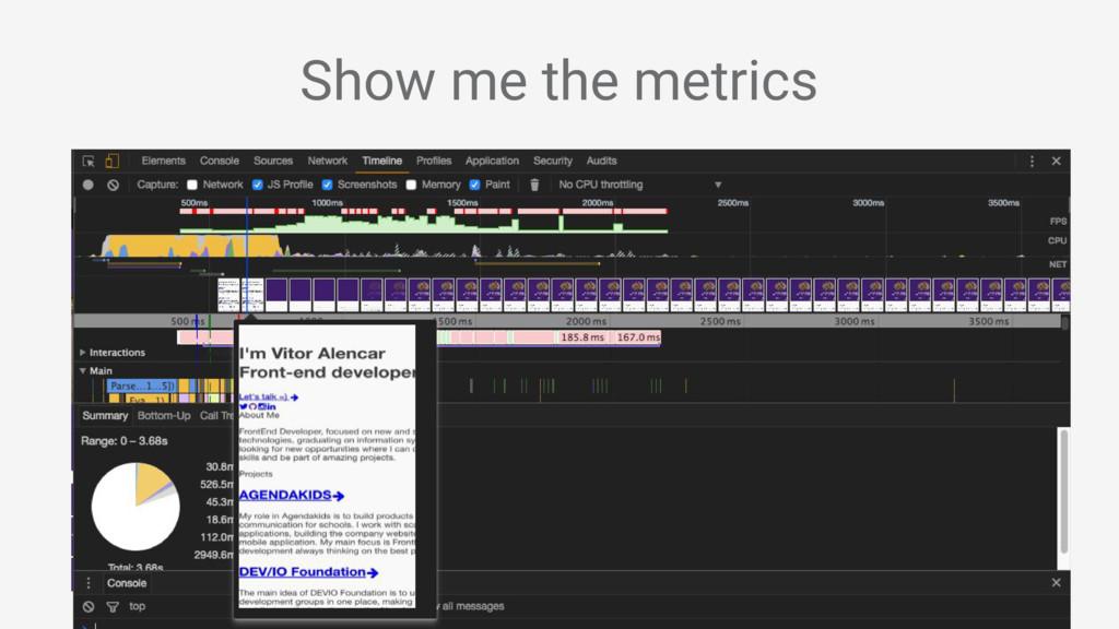 Show me the metrics