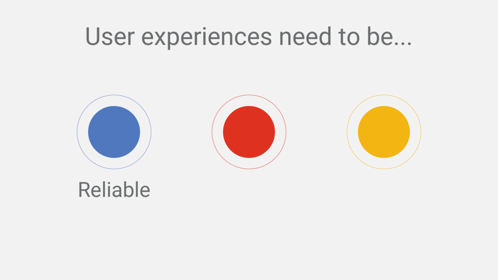 Reliable User experiences need to be...