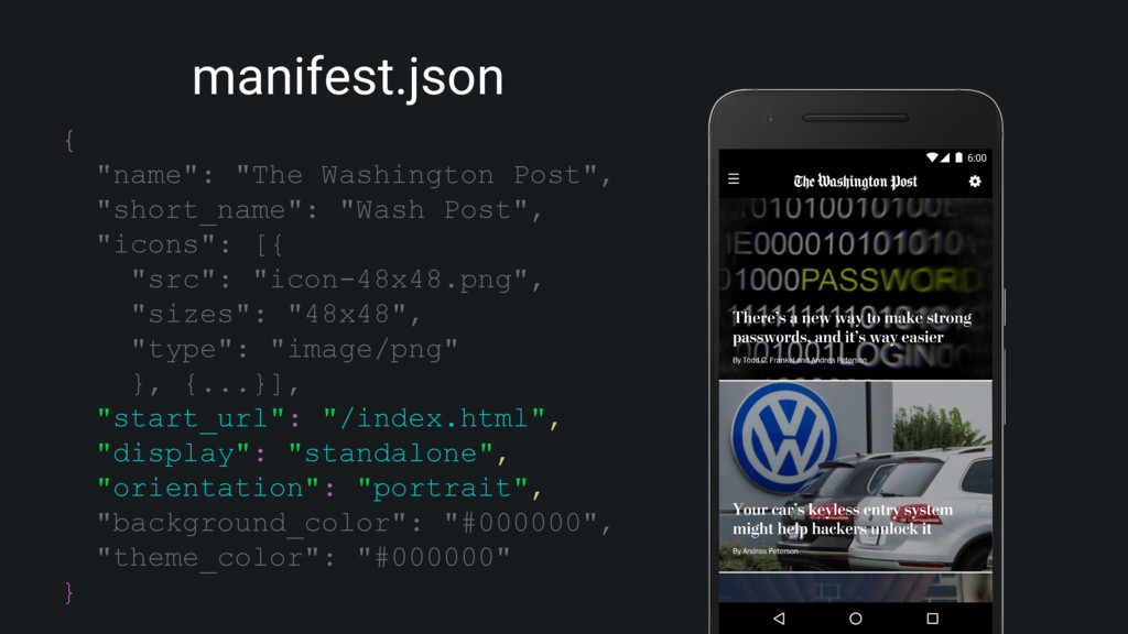 "manifest.json { ""name"": ""The Washington Post"", ..."