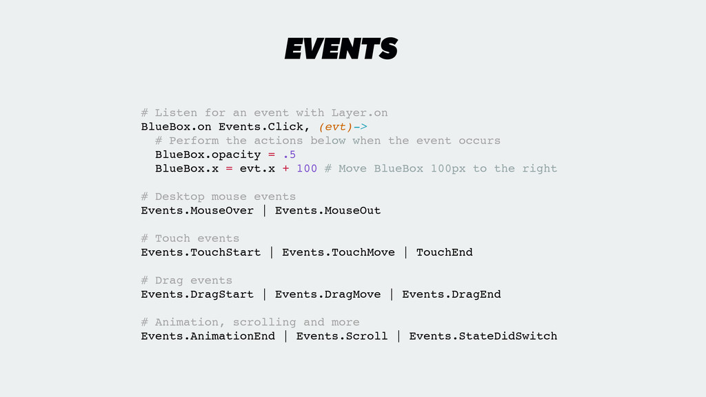 EVENTS # Listen for an event with Layer.on! Blu...
