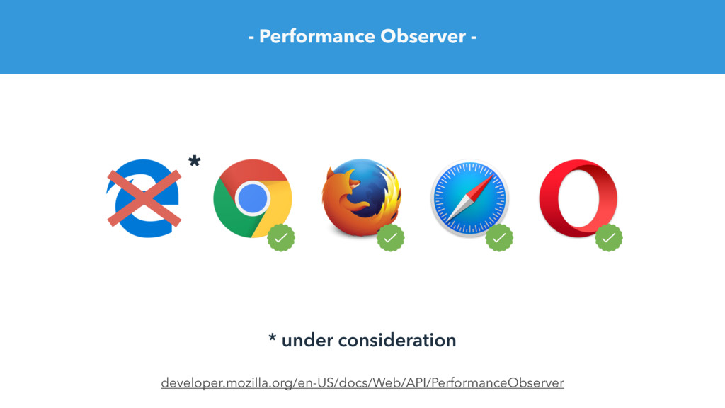- Performance Observer - developer.mozilla.org/...