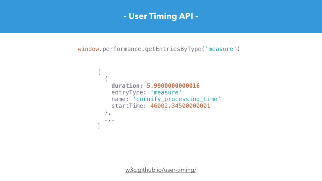 - User Timing API - w3c.github.io/user-timing/ ...