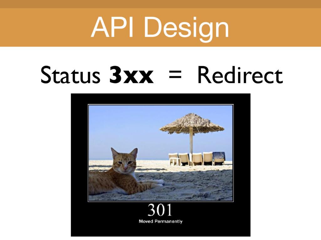 Title Title Status 3xx = Redirect API Design