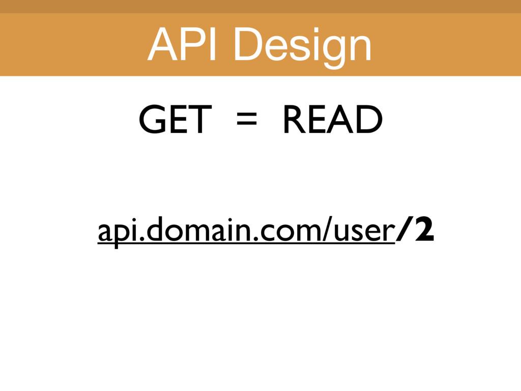 Title Title GET = READ api.domain.com/user/2 AP...