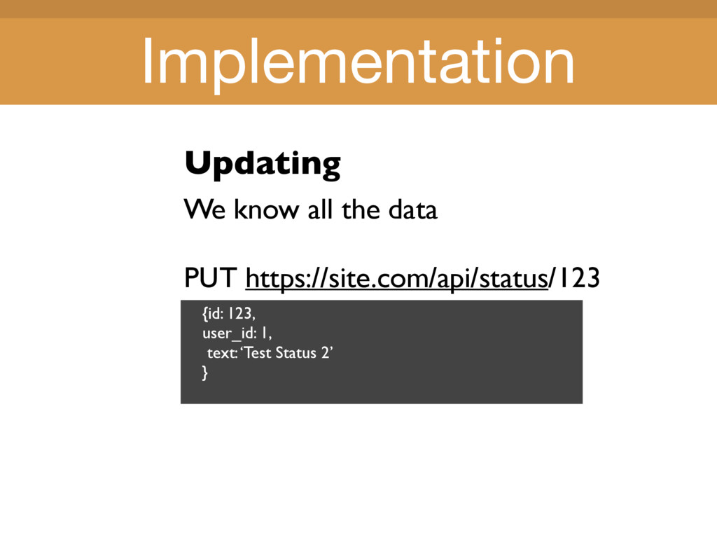 Title Title Updating We know all the data PUT h...