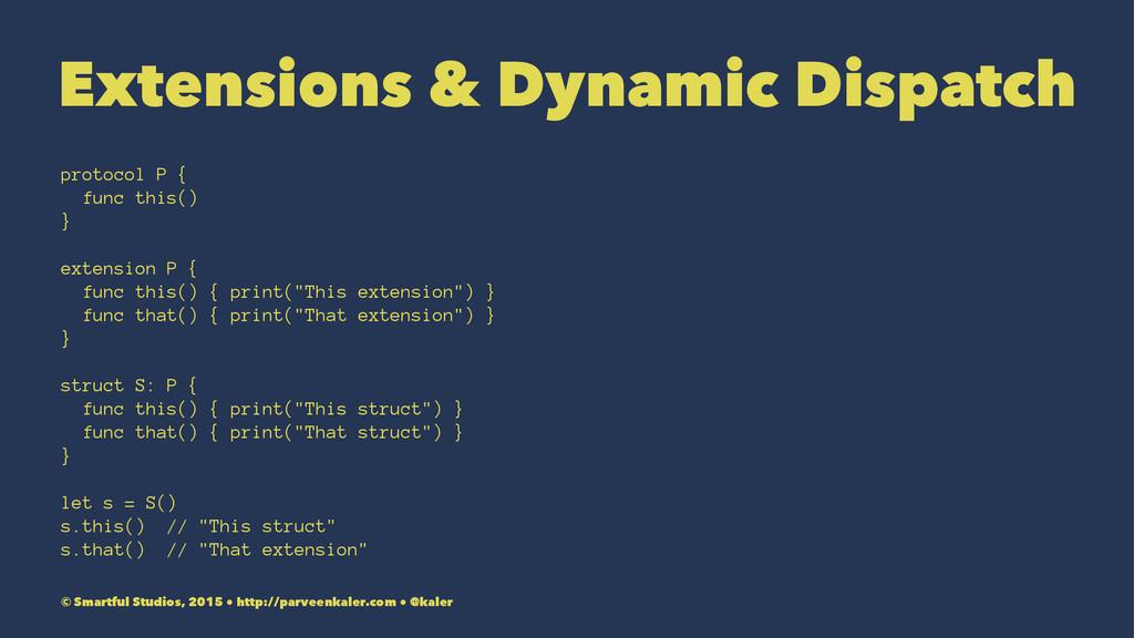 Extensions & Dynamic Dispatch protocol P { func...