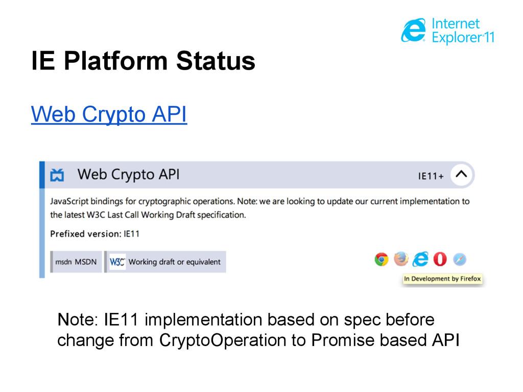 IE Platform Status Web Crypto API Note: IE11 im...