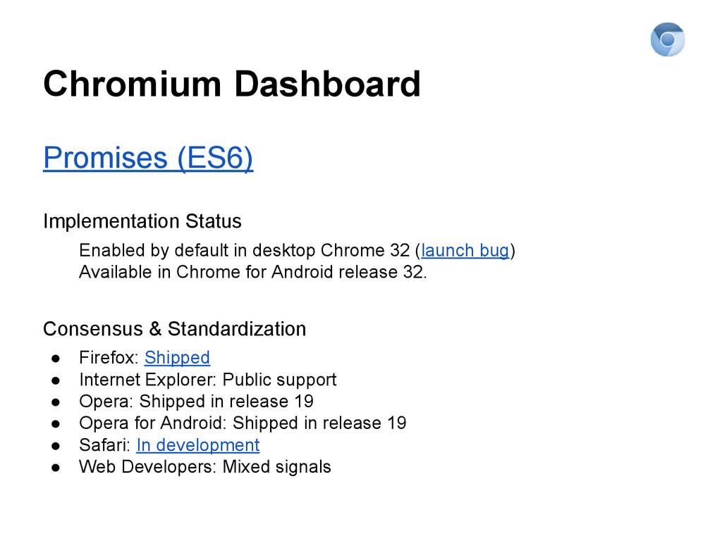 Chromium Dashboard Promises (ES6) Implementatio...
