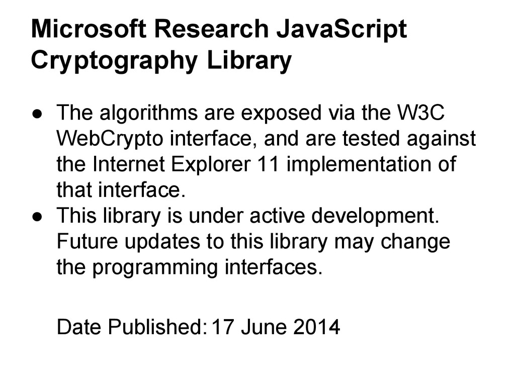 Microsoft Research JavaScript Cryptography Libr...