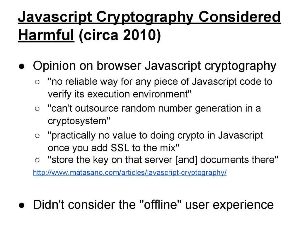 Javascript Cryptography Considered Harmful (cir...