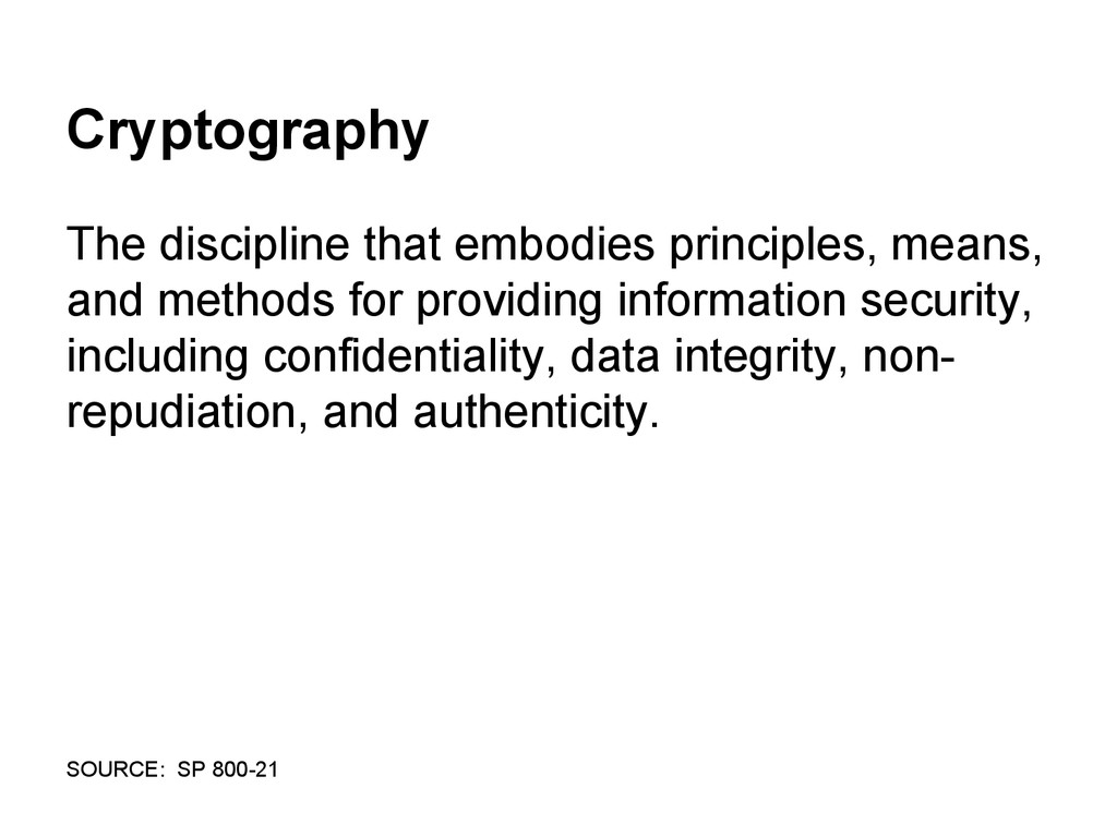 Cryptography The discipline that embodies princ...