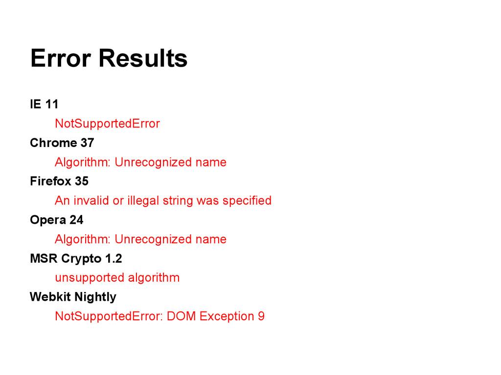 Error Results IE 11 NotSupportedError Chrome 37...