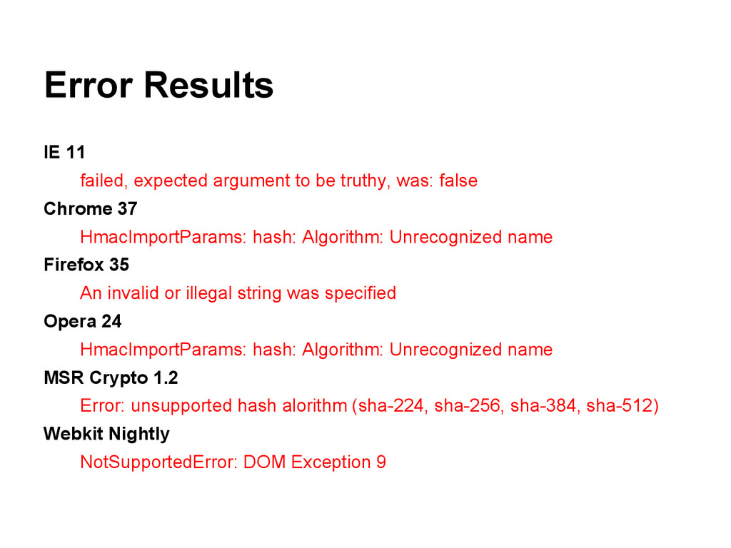 Error Results IE 11 failed, expected argument t...