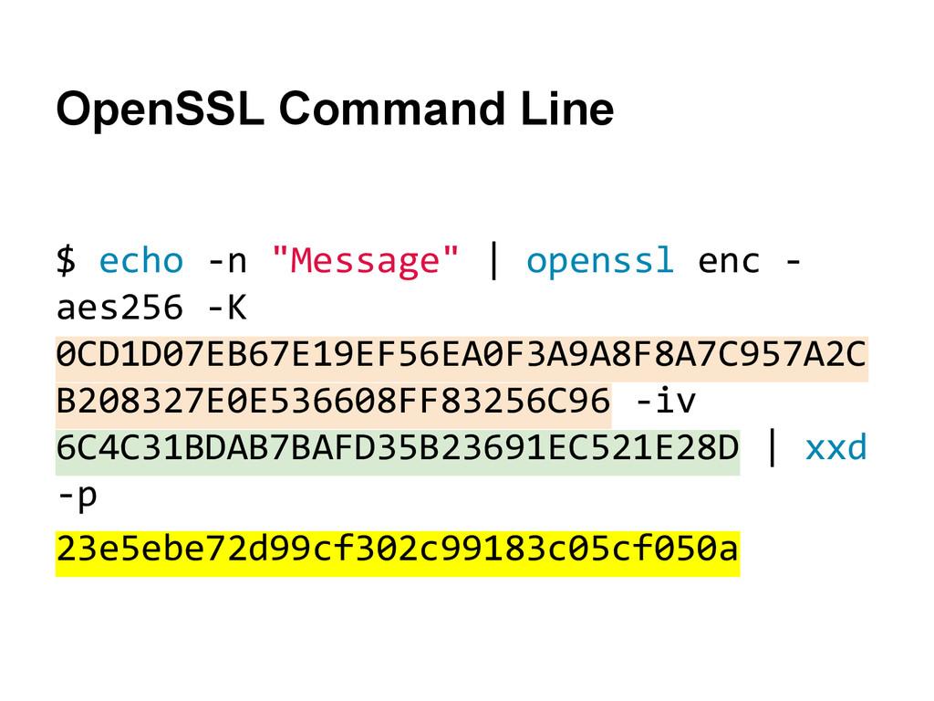 "OpenSSL Command Line $ echo -n ""Message""   open..."