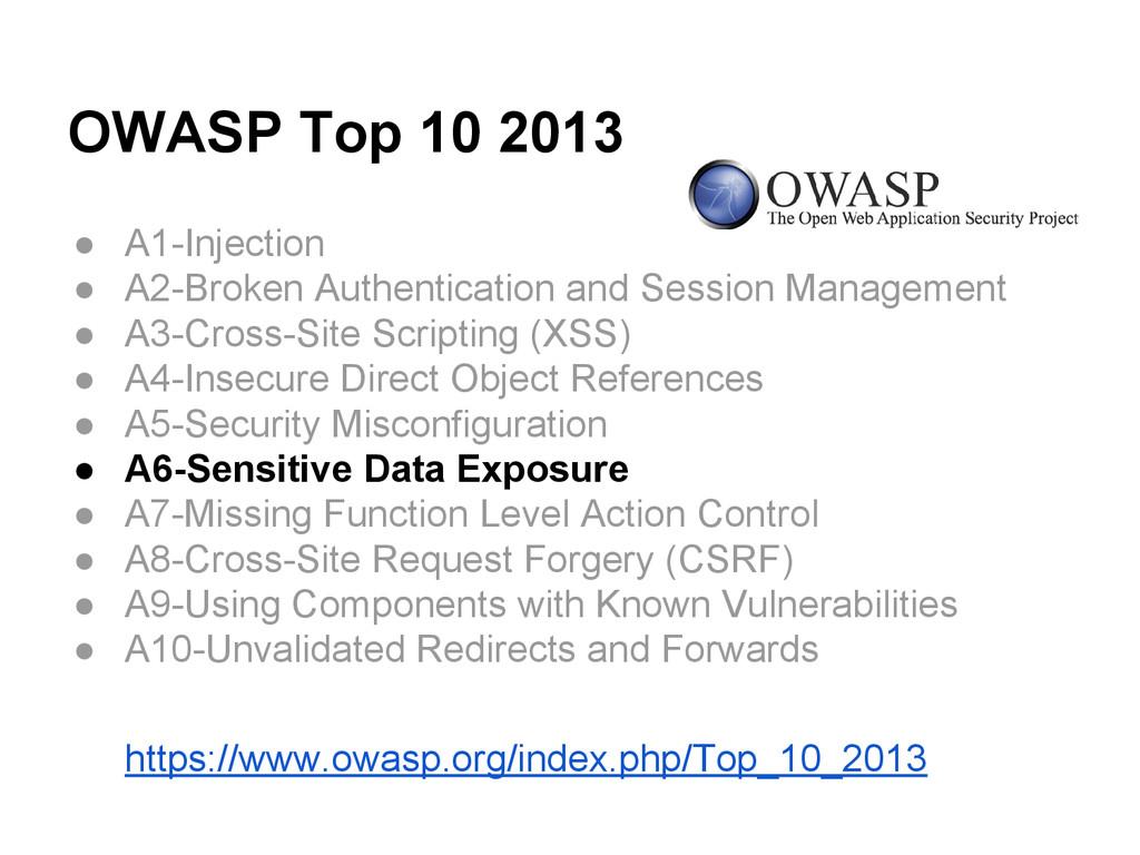 OWASP Top 10 2013 ● A1-Injection ● A2-Broken Au...
