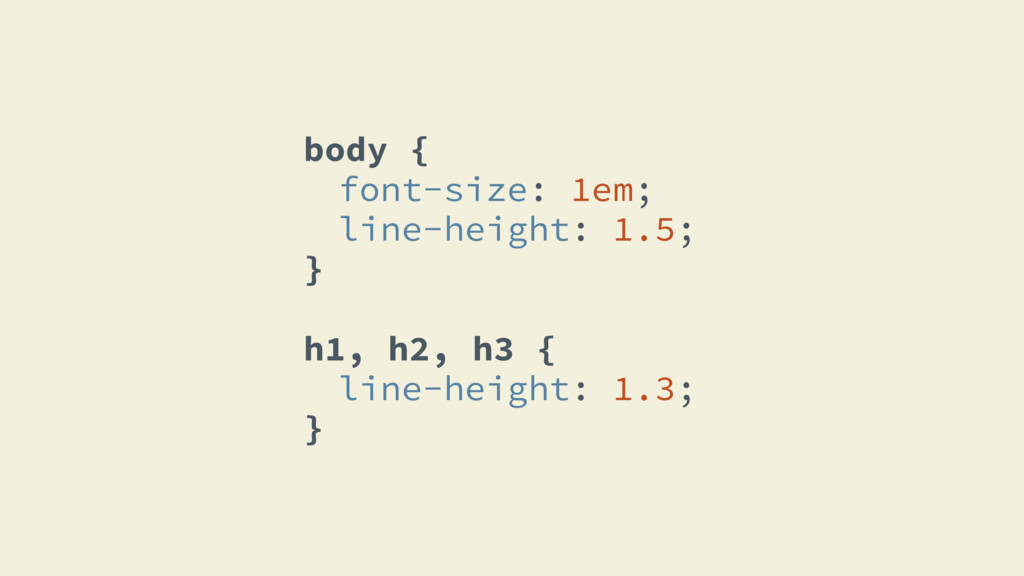 body { font-size: 1em; line-height: 1.5; } h1, ...