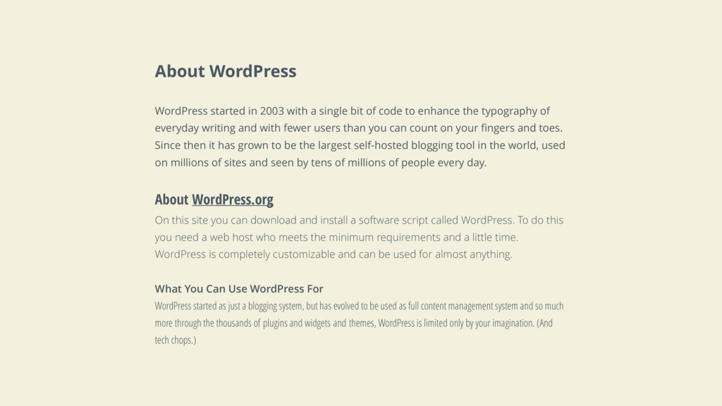 About WordPress WordPress started in 2003 with ...