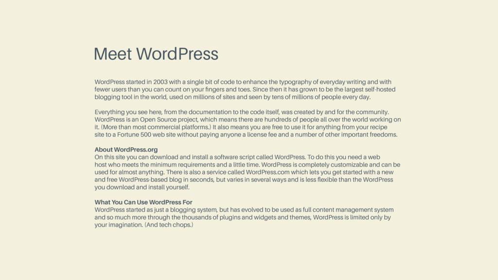 Meet WordPress WordPress started in 2003 with a...