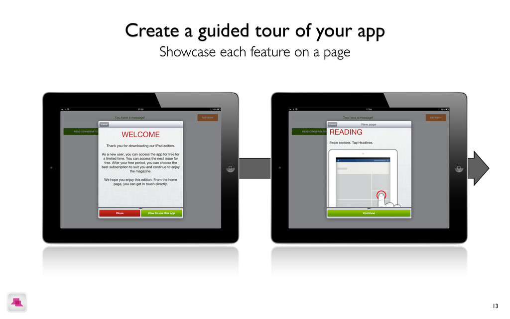 13 Create a guided tour of your app Showcase ea...